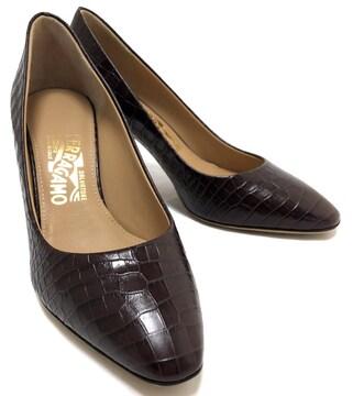 未使用正規フェラガモ靴パンプスクロコ型押しレザーブ