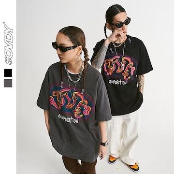 ラウンドネック 半袖Tシャツ 男女兼用 ストリート系トップス