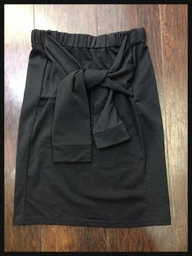 送料無料girlstyle☆前りぼん結びタイトスカート☆膝丈