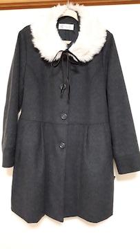 美品 襟元ファー取り外し可能可愛いグレーのAラインコート