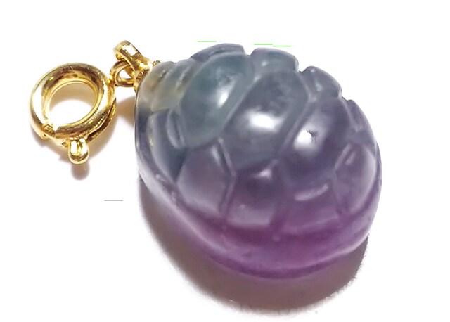 天然石★フローライト 亀甲 チャーム