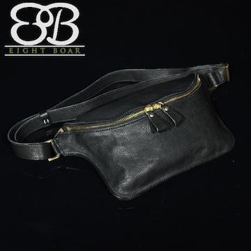 ◆牛本革 シュリンクレザー薄型ボディバッグ ショルダー◆黒k34