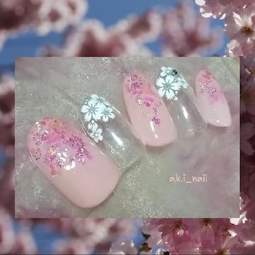 No519/ジェルネイルチップ☆付け爪~春ネイル~フラワー/桜 ホロ