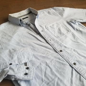 ★RAGEBLUE製 七分袖ボタンダウンシャツ サイズM レイジブルー