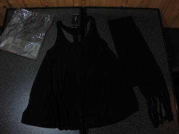 新品 INGNI イング Aラインレスラータンク 黒 ストール付