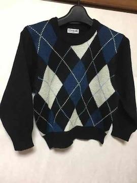 子供服/ニット/アーガイル/セーター/ブラック/120cm