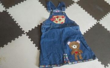 100 MINI-K GIRLS デニムジャンパースカート 美品 可愛い