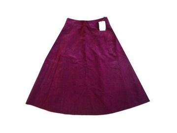 新品 グローブ grove 紫 フレア スカート 膝丈 コーデュロイ