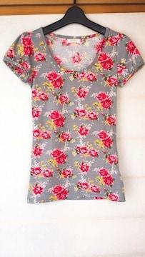 φGS titty 薔薇柄プリント 半袖 Tシャツ F グレー N2m
