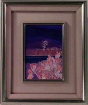 絵画 油彩 作者不詳『花のある風景』真作保証