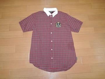 DOUBLE HARDダブルハード半袖チェックシャツL赤エンブレムBD