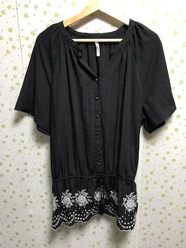 3Lサイズ 刺繍 ペプラムブラウス