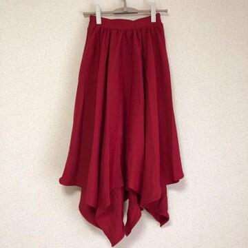美品 真っ赤なイレギュラースカート 膝丈、ロング丈●