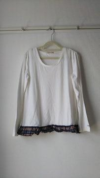 裾フリル 長袖Tシャツ