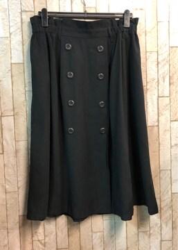 新品☆3Lトレンチ風ロングスカート黒ウエストゴム♪j777