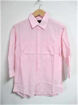LOUNGE LIZARD ラウンジリザード ストライプ柄 7分袖シャツ/メンズ/1(S)☆新品