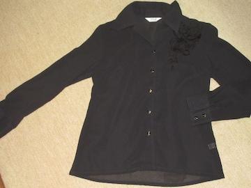 未使用☆フラワーモチーフ*シフォン*長袖シャツ(ブラック)
