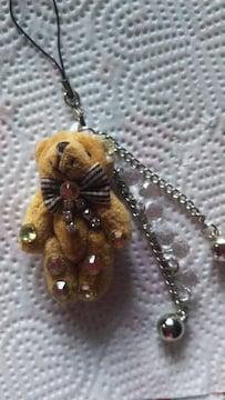 可愛いクマ(´・(ェ)・`)のデコストラップ☆ベア☆熊☆リボン☆