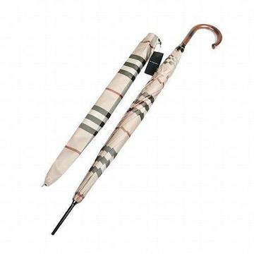 新品タグ付■バーバリー 日本製 カバー付■ノバチェック紳士長傘(雨傘)65cm