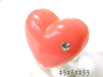 《New》ストーンがキラリ*ぷっくりハート★プリンセス*姫リング/指輪<ピンク>