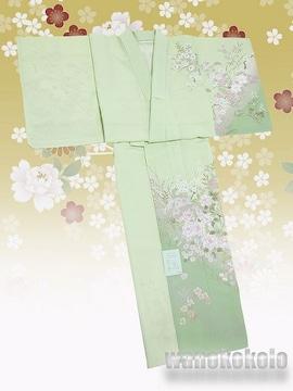 【和の志】洗える着物◇付下げ・単衣◇薄黄緑系・牡丹◇208