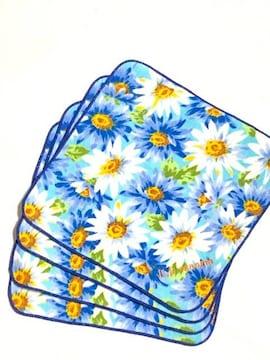 新品4枚組〈U.Prenoma〉花柄タオルハンカチブルー