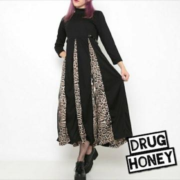 【Drughoney】サイドベルト装飾レオパード柄切替フレアロングワ