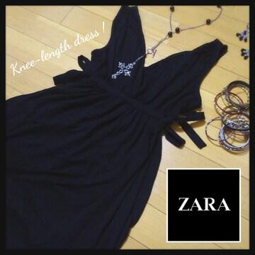 新品!! ZARA ザラ BASIC★シンプル ダブルリボン 膝丈 ブラックワンピース