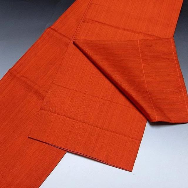 【袋帯】正絹 朱色地 カラフルな刺繍柄入り < 女性ファッションの