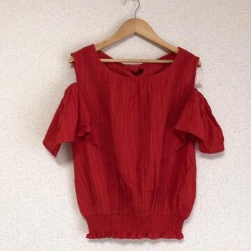 マジェスティックレゴン新品 袖ひらひら、真っ赤な肩開きカットソー♪