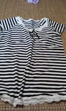 白黒ボーダー マタニティ用 半袖Tシャツ M