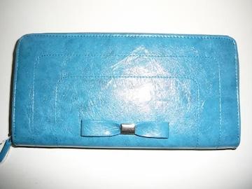 合皮製ブルー長財布リボン