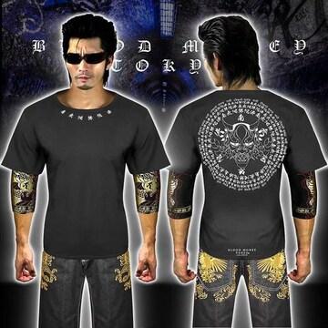 送料無料般若柄半袖Tシャツ 派手ヤクザ オラオラ系和柄上下服18002白黒-M