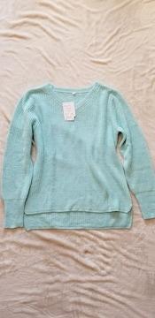 水色ブルーゆったりフンワリあぜ編み長袖Vネックニットセーター