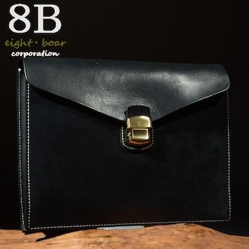 ◆牛本革コードバン調 ロック式 クラッチ セカンドバッグ◆黒b24