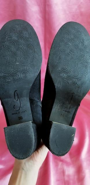 スペイン黒本皮スエードレザーゴールド2wayニーハイロングブーツ < 女性ファッションの
