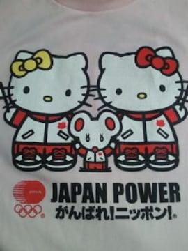 ハローキティ オリンピック がんばれ ニッポン 応援 Tシャツ ピンク Mサイズ 栄光