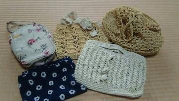 値下げ★新品★ハンドメイド かぎ編みミニバッグ ポーチ他5点セット★