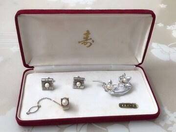 B024 本真珠 カフス ネクタイピン ブローチ セット