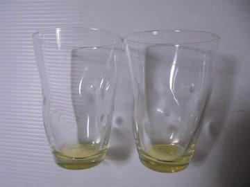 カップグラスコップタンブラー無地グラデーション窪みクリア黄X2