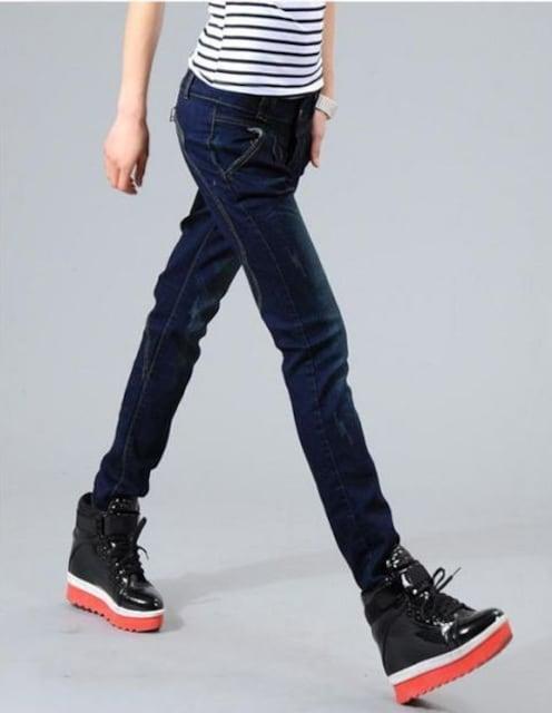 27インチ(Mサイズ)★ファスナー付きデニムパンツ < 女性ファッションの
