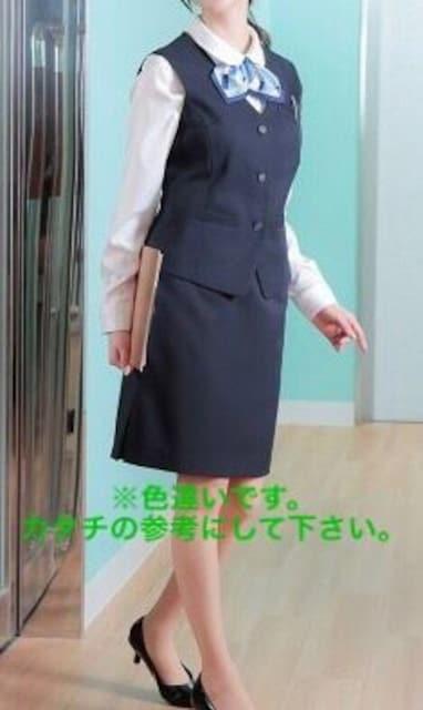 新品☆9号お仕事ベストスーツ同スカート2枚付き!黒56丈☆n295 < 女性ファッションの