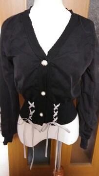 【axes femme POETIQUE 】チュール付き編み上げカーデ