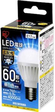 アイリスオーヤマ LED電球 口金直径17mm 60W形相当 昼白色 広