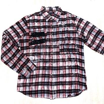 【used】カジュアル2WAYチェックシャツ/メンズM/赤×黒×白