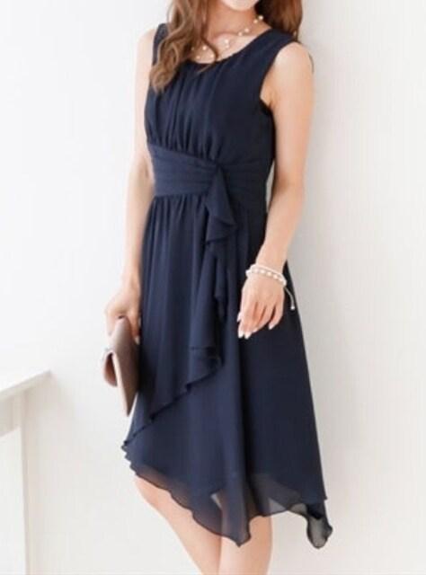 新品☆21号3L♪紺色のシフォンパーティワンピース☆s576 < 女性ファッションの