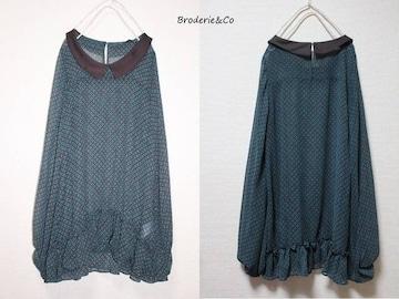 ブロードゥリー&コー*Broderie&Co〓ボリューム袖*裾フリルシフォンチュニック〓used