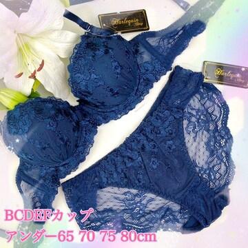 5点以上送料無料☆D65M 花刺繍レースネイビー ブラ&ショーツ