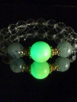 6002〓光る〓天然石〓発光石&アクアマリン&カット水晶ブレスレット〓