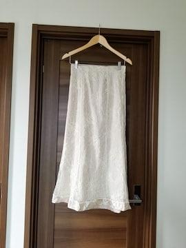 新品◆総レース裾サテンシャンパンゴールドロングフレアスカート